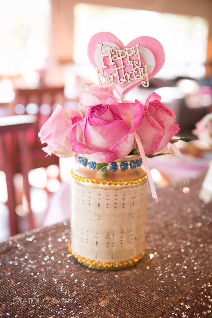 Sheet music blooms from a Chic Beauty and the Beast Birthday Party on Kara's Party Ideas | KarasPartyIdeas.com (23)