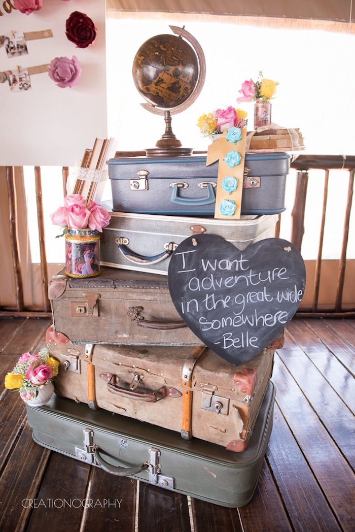 Stacked vintage suitcases from a Chic Beauty and the Beast Birthday Party on Kara's Party Ideas | KarasPartyIdeas.com (22)