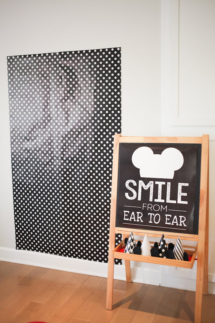 Mickey Mouse photo booth from a Classic Mickey Mouse Birthday Party on Kara's Party Ideas | KarasPartyIdeas.com (35)