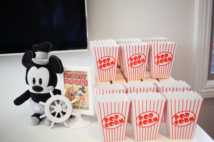 Vintage popcorn boxes from a Classic Mickey Mouse Birthday Party on Kara's Party Ideas | KarasPartyIdeas.com (34)