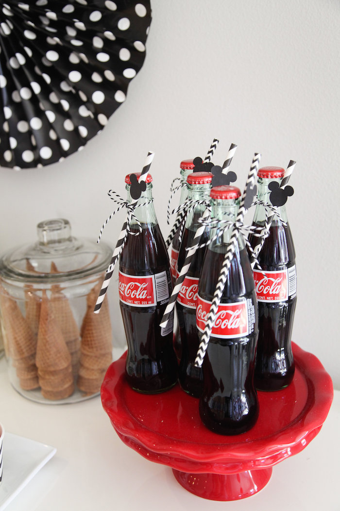 Cola bottles from a Classic Mickey Mouse Birthday Party on Kara's Party Ideas | KarasPartyIdeas.com (27)
