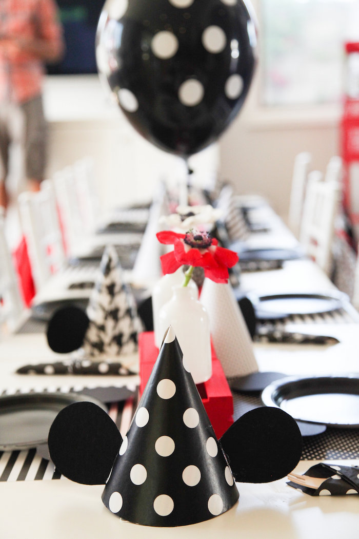 Mickey Mouse party hat from a Classic Mickey Mouse Birthday Party on Kara's Party Ideas | KarasPartyIdeas.com (25)