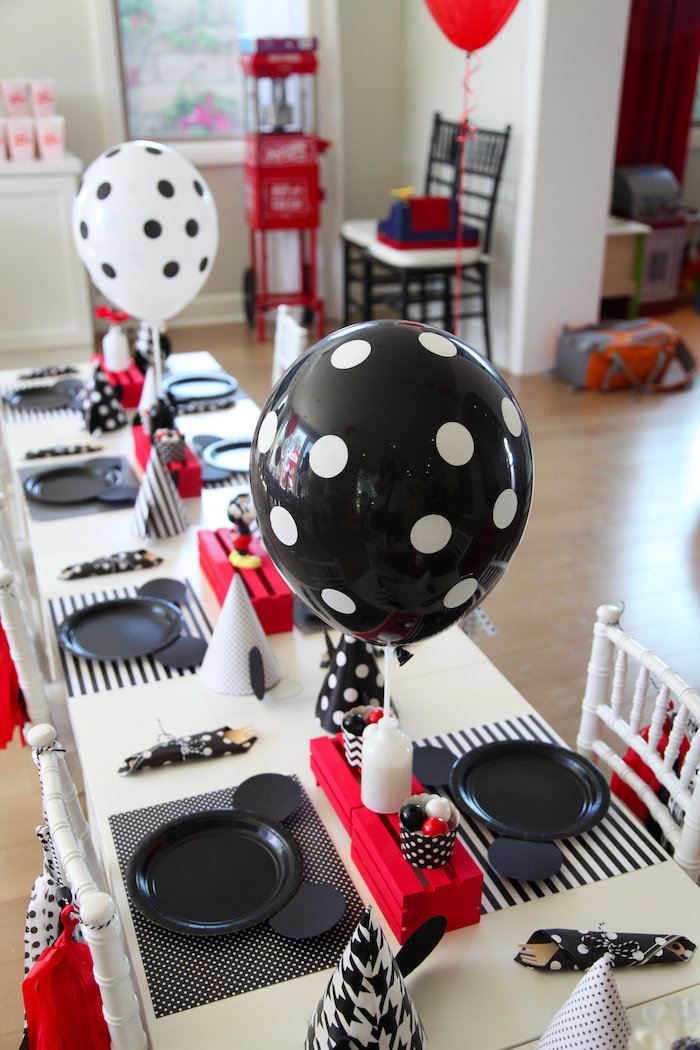 Micke Mouse guest table from a Classic Mickey Mouse Birthday Party on Kara's Party Ideas | KarasPartyIdeas.com (24)
