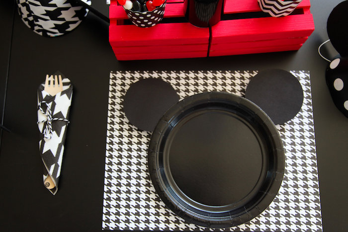 Mickey Mouse place setting from a Classic Mickey Mouse Birthday Party on Kara's Party Ideas | KarasPartyIdeas.com (23)