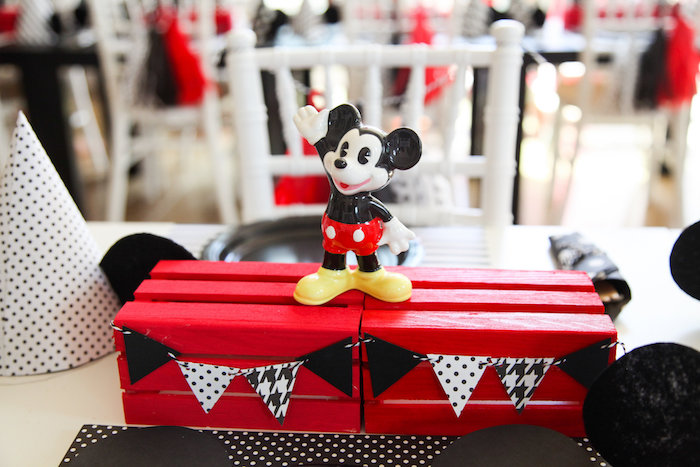 Mickey Mouse table centerpiece from a Classic Mickey Mouse Birthday Party on Kara's Party Ideas | KarasPartyIdeas.com (21)