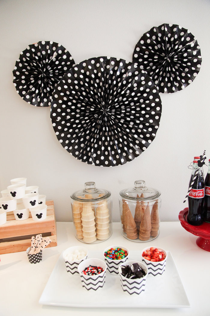Mickey Mouse Ice Cream Buffet from a Classic Mickey Mouse Birthday Party on Kara's Party Ideas | KarasPartyIdeas.com (13)