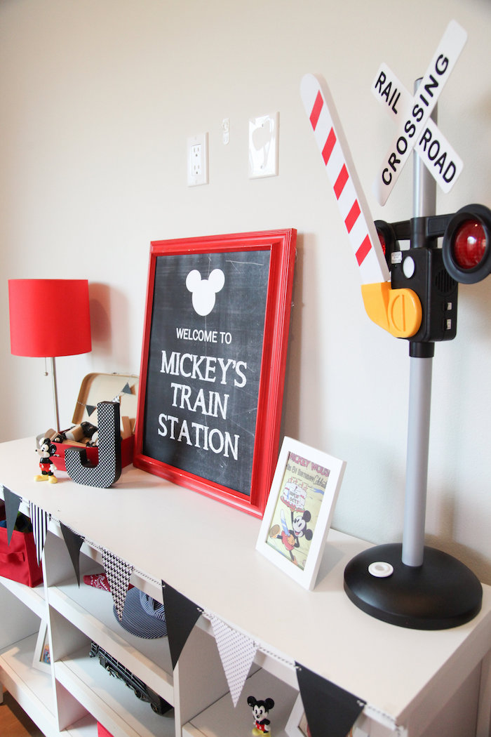 Train Staton party table from a Classic Mickey Mouse Birthday Party on Kara's Party Ideas | KarasPartyIdeas.com (12)