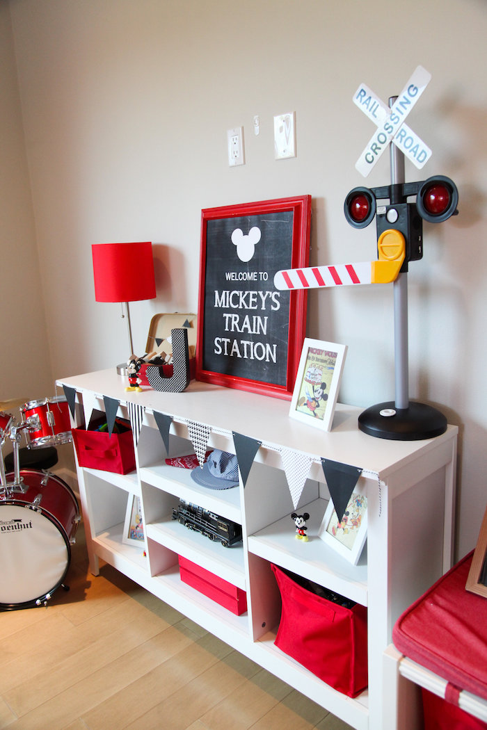 Train Station party table from a Classic Mickey Mouse Birthday Party on Kara's Party Ideas | KarasPartyIdeas.com (10)