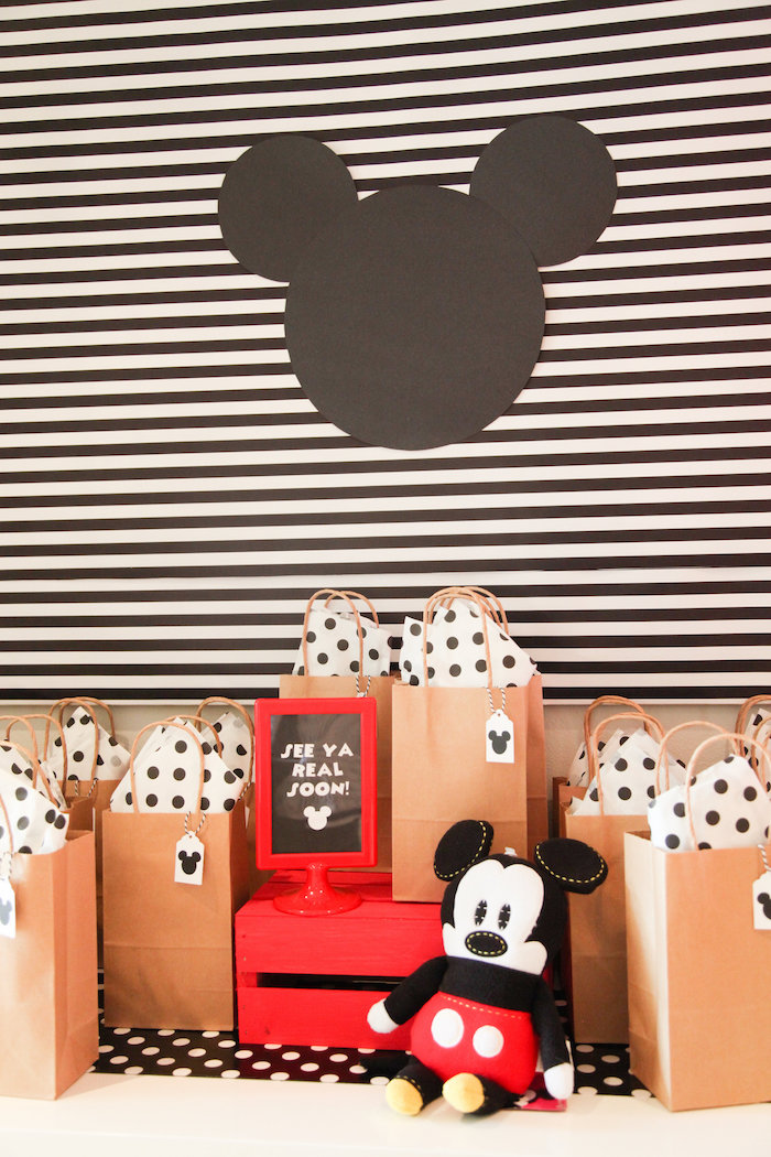 Mickey bag favors from a Classic Mickey Mouse Birthday Party on Kara's Party Ideas | KarasPartyIdeas.com (9)