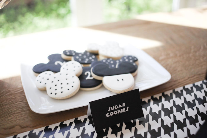 Monochromatic Mickey Mouse Cookies from a Classic Mickey Mouse Birthday Party on Kara's Party Ideas | KarasPartyIdeas.com (42)