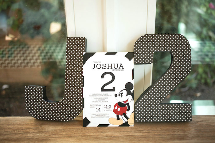 Mickey Mouse Party Invite from a Classic Mickey Mouse Birthday Party on Kara's Party Ideas | KarasPartyIdeas.com (3)