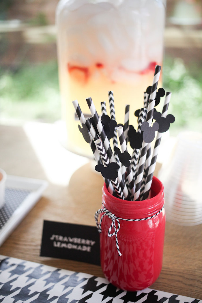 Striped straws with Mickey Mouse flags from a Classic Mickey Mouse Birthday Party on Kara's Party Ideas | KarasPartyIdeas.com (40)
