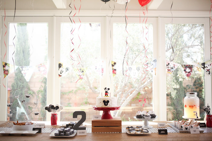 Mickey Mouse dessert table from a Classic Mickey Mouse Birthday Party on Kara's Party Ideas | KarasPartyIdeas.com (39)