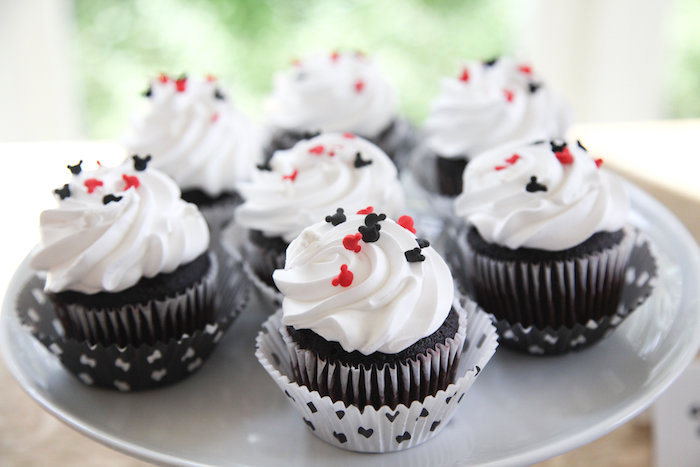 Mickey Mouse cupcakes from a Classic Mickey Mouse Birthday Party on Kara's Party Ideas | KarasPartyIdeas.com (36)
