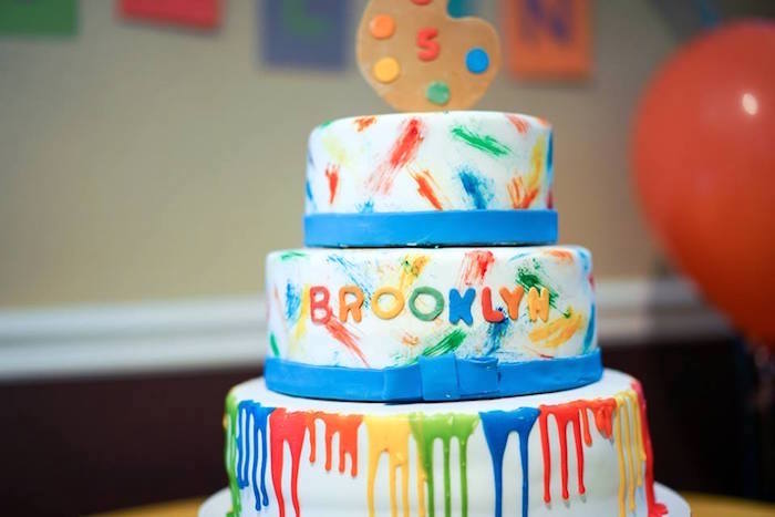 Paint cake from a Colorful Art Birthday Party on Kara's Party Ideas | KarasPartyIdeas.com (14)