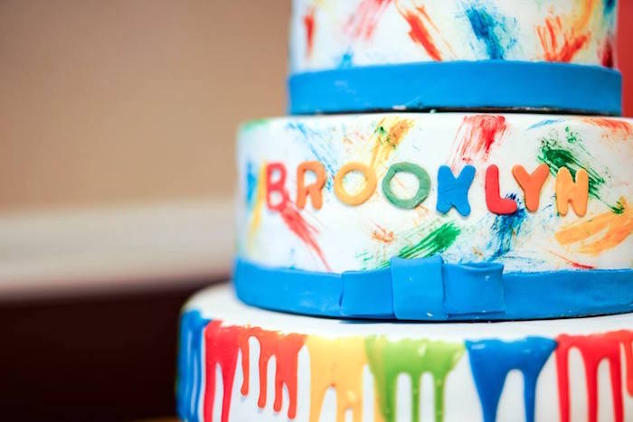 Paint splatter cake from a Colorful Art Birthday Party on Kara's Party Ideas | KarasPartyIdeas.com (11)