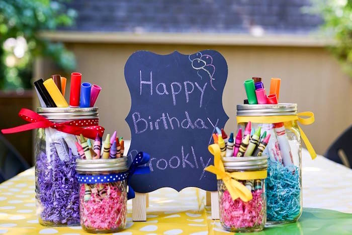 Art supplies from a Colorful Art Birthday Party on Kara's Party Ideas | KarasPartyIdeas.com (10)