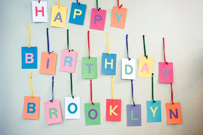 Happy Birthday Banner from a Colorful Art Birthday Party on Kara's Party Ideas | KarasPartyIdeas.com (9)