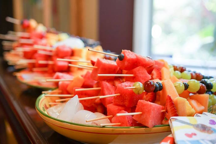 Fruit skewers from a Colorful Art Birthday Party on Kara's Party Ideas | KarasPartyIdeas.com (6)