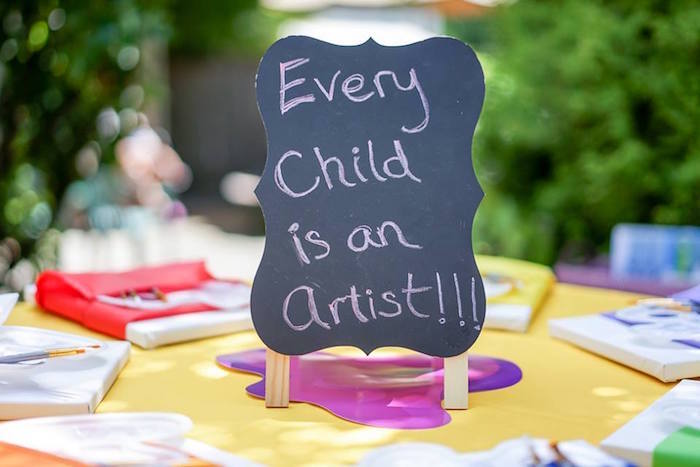 Chalkboard signage from a Colorful Art Birthday Party on Kara's Party Ideas | KarasPartyIdeas.com (22)