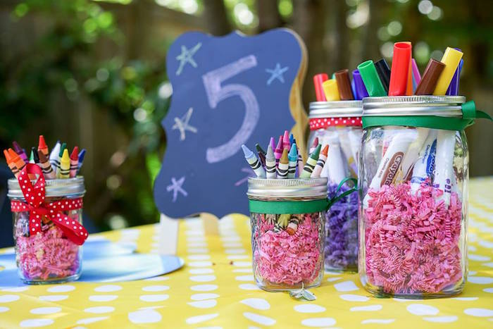 Art supplies from a Colorful Art Birthday Party on Kara's Party Ideas | KarasPartyIdeas.com (21)