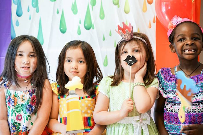 Paint splatter backdrop from a Colorful Art Birthday Party on Kara's Party Ideas | KarasPartyIdeas.com (20)