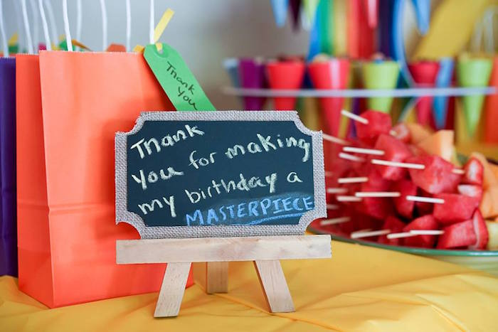 Favor bags & chalkboard signage from a Colorful Art Birthday Party on Kara's Party Ideas | KarasPartyIdeas.com (19)