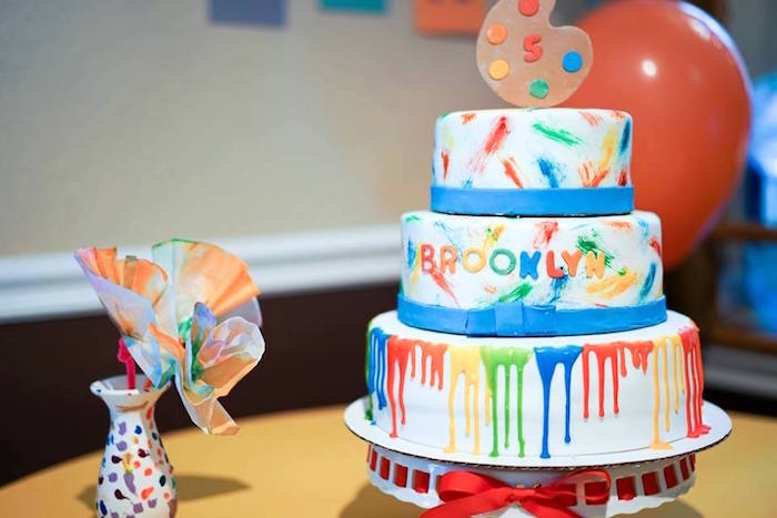Paint cake from a Colorful Art Birthday Party on Kara's Party Ideas | KarasPartyIdeas.com (15)