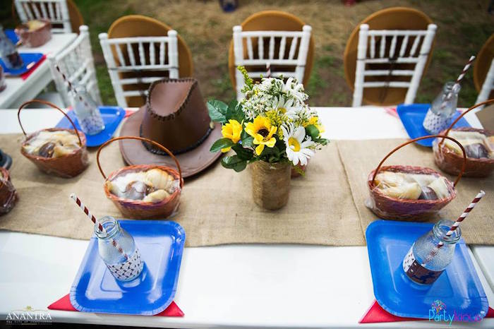 Western guest tabletop from a Cowboys & Cowgirls Joint Birthday Party on Kara's Party Ideas | KarasPartyIdeas.com (33)