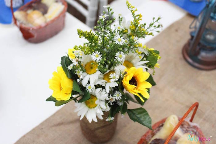 Wildflower centerpiece from a Cowboys & Cowgirls Joint Birthday Party on Kara's Party Ideas | KarasPartyIdeas.com (32)