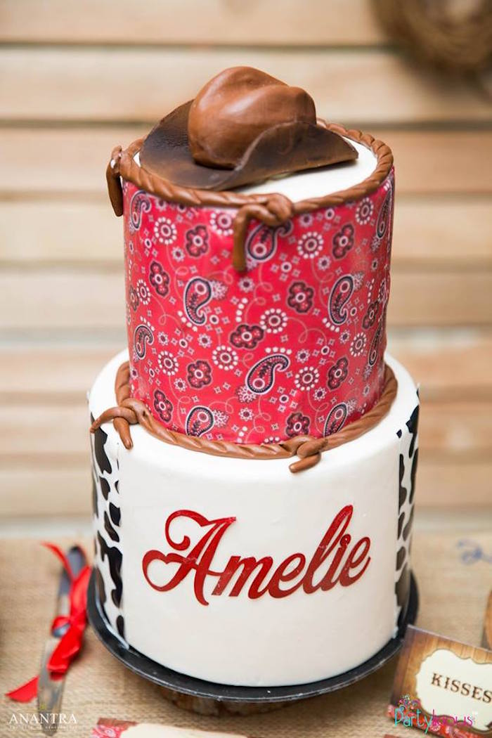 Red Paisley Cowgirl Cake from a Cowboys & Cowgirls Joint Birthday Party on Kara's Party Ideas | KarasPartyIdeas.com (30)