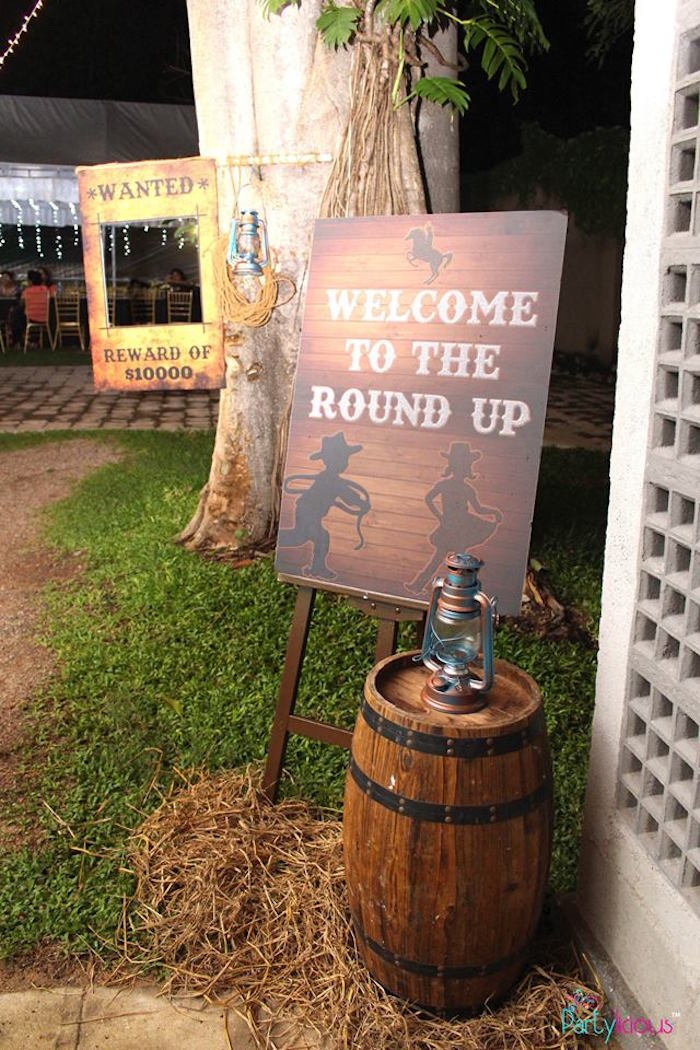 Round Up Welcome Sign from a Cowboys & Cowgirls Joint Birthday Party on Kara's Party Ideas | KarasPartyIdeas.com (28)