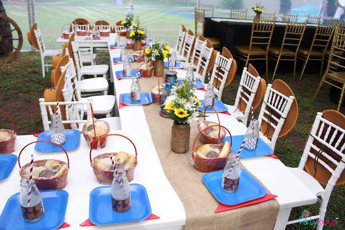 Western guest table from a Cowboys & Cowgirls Joint Birthday Party on Kara's Party Ideas | KarasPartyIdeas.com (26)