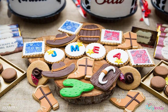 Western-inspired Sugar Cookies from a Cowboys & Cowgirls Joint Birthday Party on Kara's Party Ideas | KarasPartyIdeas.com (44)