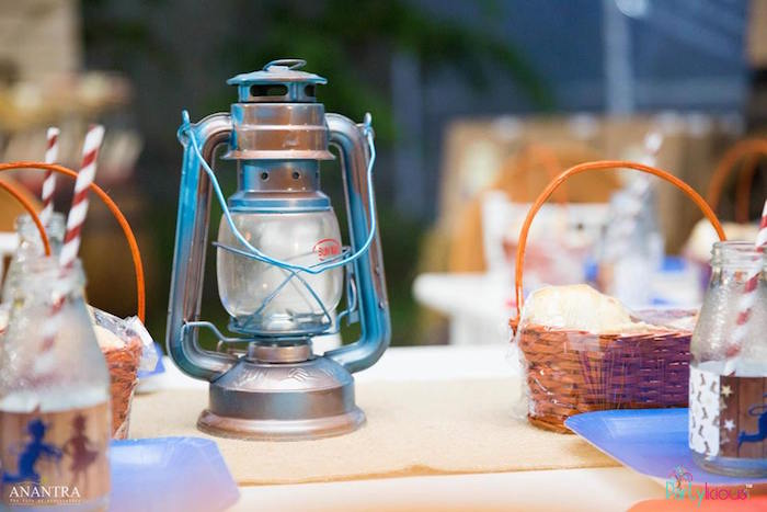 Lantern centerpiece from a Cowboys & Cowgirls Joint Birthday Party on Kara's Party Ideas | KarasPartyIdeas.com (25)