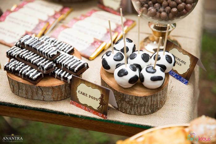 Cow cake pops and dessert bars from a Cowboys & Cowgirls Joint Birthday Party on Kara's Party Ideas | KarasPartyIdeas.com (24)