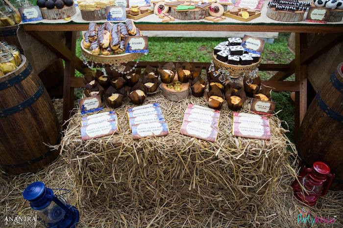 Sweets on a hay bail from a Cowboys & Cowgirls Joint Birthday Party on Kara's Party Ideas | KarasPartyIdeas.com (21)