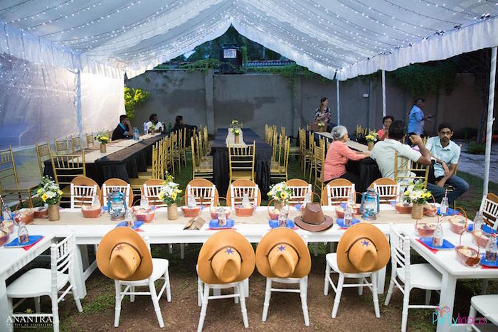 Guest tables + tentscape from a Cowboys & Cowgirls Joint Birthday Party on Kara's Party Ideas | KarasPartyIdeas.com (18)