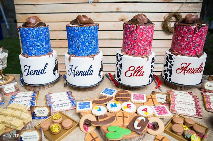 Cakes & cookies from a Cowboys & Cowgirls Joint Birthday Party on Kara's Party Ideas | KarasPartyIdeas.com (43)
