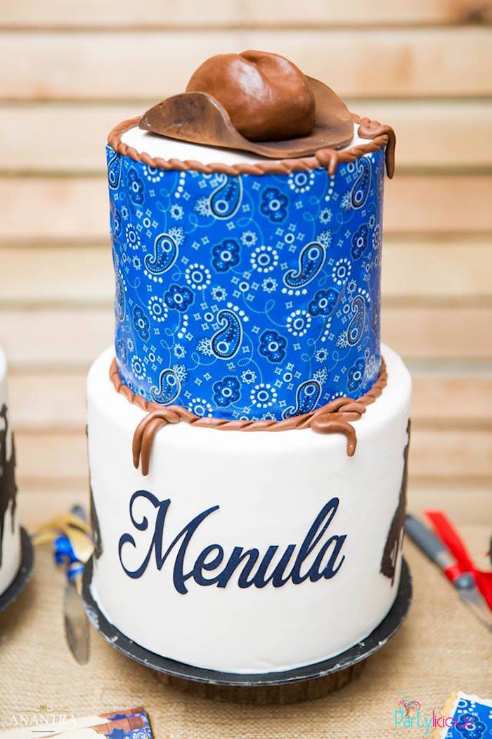 Blue Paisley Cowboy Cake from a Cowboys & Cowgirls Joint Birthday Party on Kara's Party Ideas | KarasPartyIdeas.com (13)