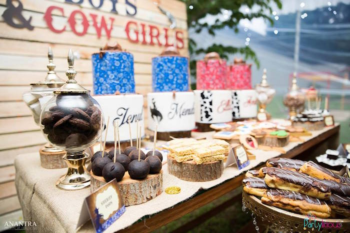 Cake + dessert table from a Cowboys & Cowgirls Joint Birthday Party on Kara's Party Ideas | KarasPartyIdeas.com (12)