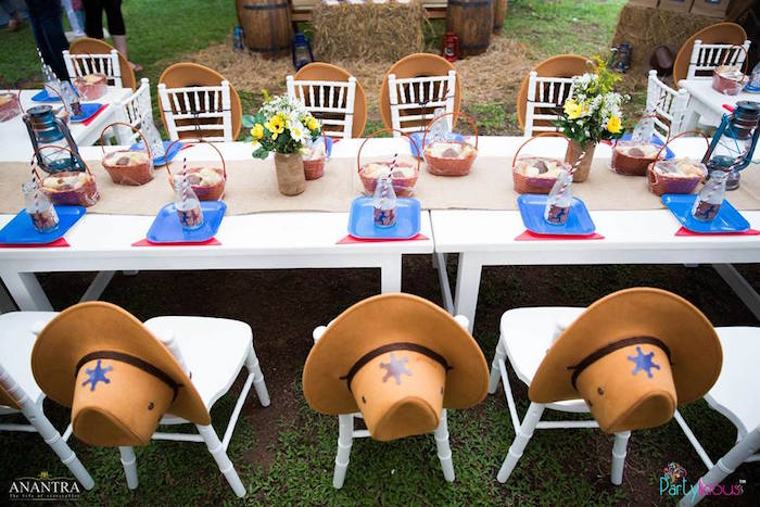 Guest table from a Cowboys & Cowgirls Joint Birthday Party on Kara's Party Ideas | KarasPartyIdeas.com (40)