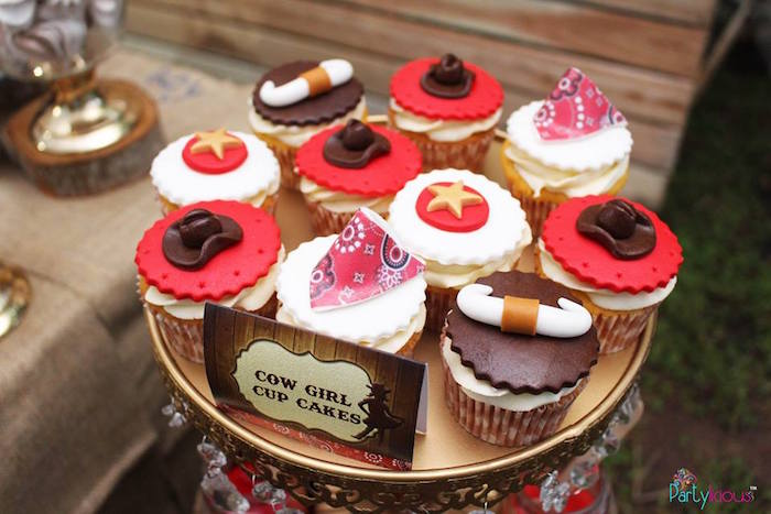 Cowgirl cupcakes from a Cowboys & Cowgirls Joint Birthday Party on Kara's Party Ideas | KarasPartyIdeas.com (39)