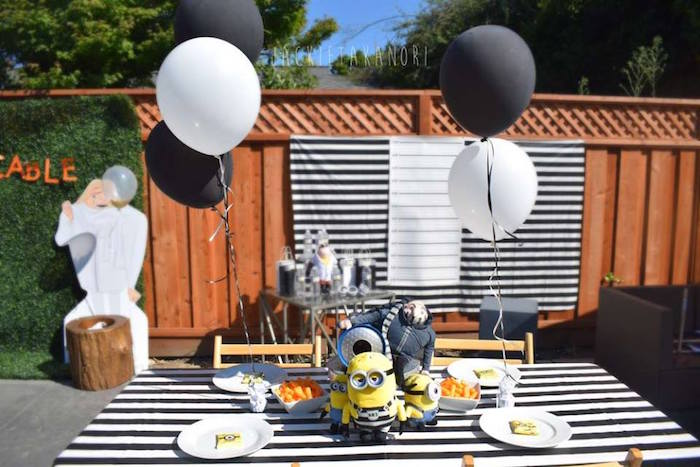 Gru guest table from a Despicable Me 3 Luau Party on Kara's Party Ideas | KarasPartyIdeas.com (20)