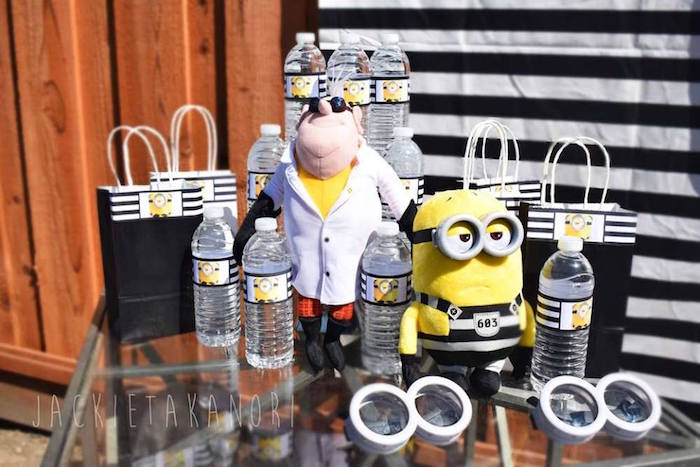Minion gift bags + water bottles from a Despicable Me 3 Luau Party on Kara's Party Ideas | KarasPartyIdeas.com (14)