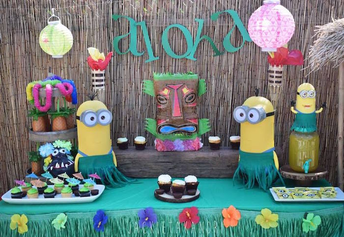 Minion sweet table from a Despicable Me 3 Luau Party on Kara's Party Ideas | KarasPartyIdeas.com (30)