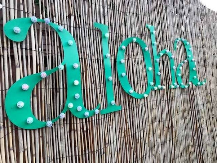 Aloha bamboo backdrop from a Despicable Me 3 Luau Party on Kara's Party Ideas   KarasPartyIdeas.com (11)