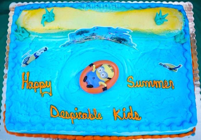 Cake from a Despicable Me 3 Luau Party on Kara's Party Ideas   KarasPartyIdeas.com (9)