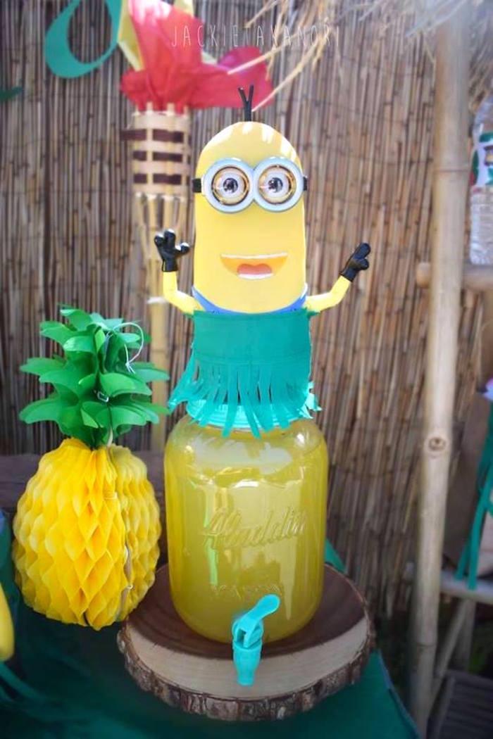 Minion beverage dispenser from a Despicable Me 3 Luau Party on Kara's Party Ideas   KarasPartyIdeas.com (8)