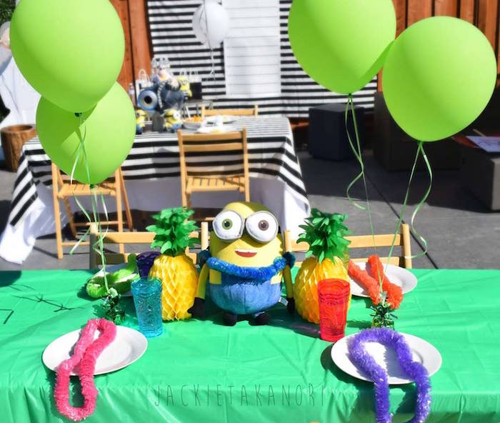 Guest table from a Despicable Me 3 Luau Party on Kara's Party Ideas | KarasPartyIdeas.com (6)